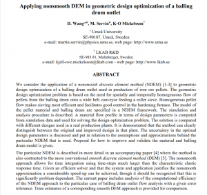 Applying nonsmooth DEM in geometric design optimization of a balling drum outlet