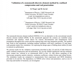 Validation of a nonsmooth discrete element method by confined compression and rod penetration