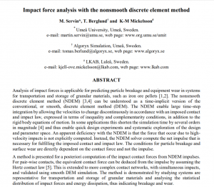 Impact force analysis with the nonsmooth discrete element method