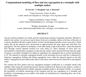 Computational modeling of flow and size segregation in a stockpile with multiple outlets