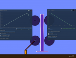 Electricity in a 2D mechanics simulator for education