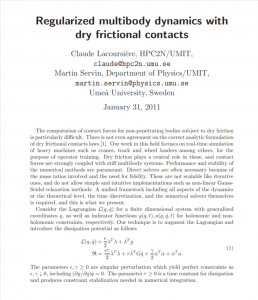 Regularized multibody dynamics with dry frictional contacts