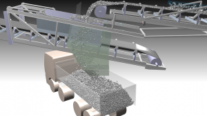 Virtual commissioning of a mobile ore chute