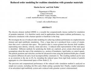 Reduced order modeling for realtime simulation with granular materials
